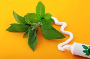 Tubetto di dentifricio con erbe naturali
